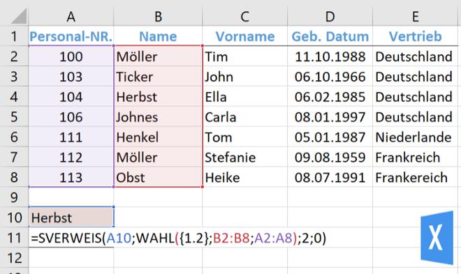 Excel Insights: Screenshot mit Tabelle und Erklärung zu Excel SVERWEIS nach links suchen lassen